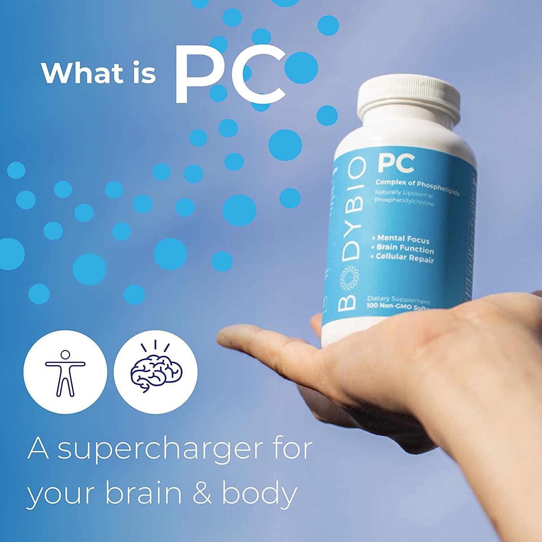BodyBio PC Phosphatidylcholine, Phospholipid - 100 Tablet