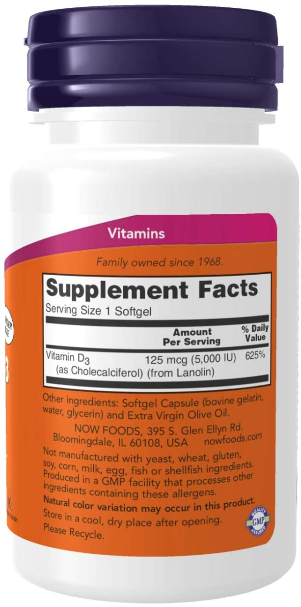 NOW Supplements Vitamin D3 5000 IU - 240 Tablet