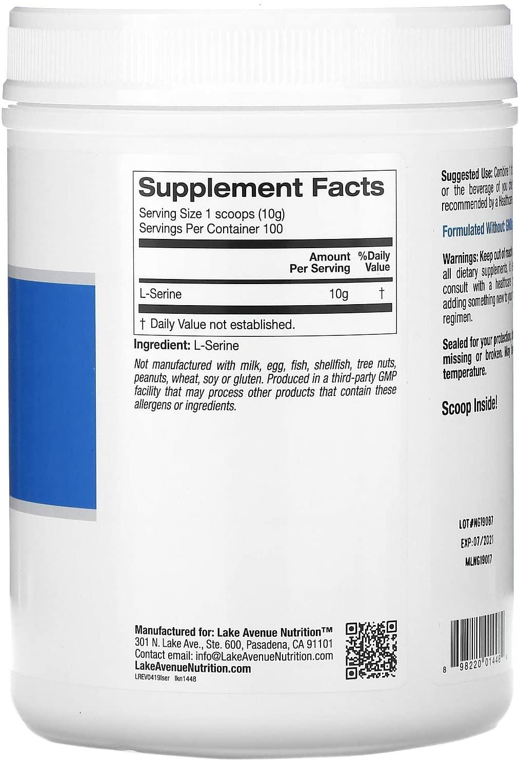 Lake Avenue Nutrition L-Serine Powder - 2.2 lb (1 kg)