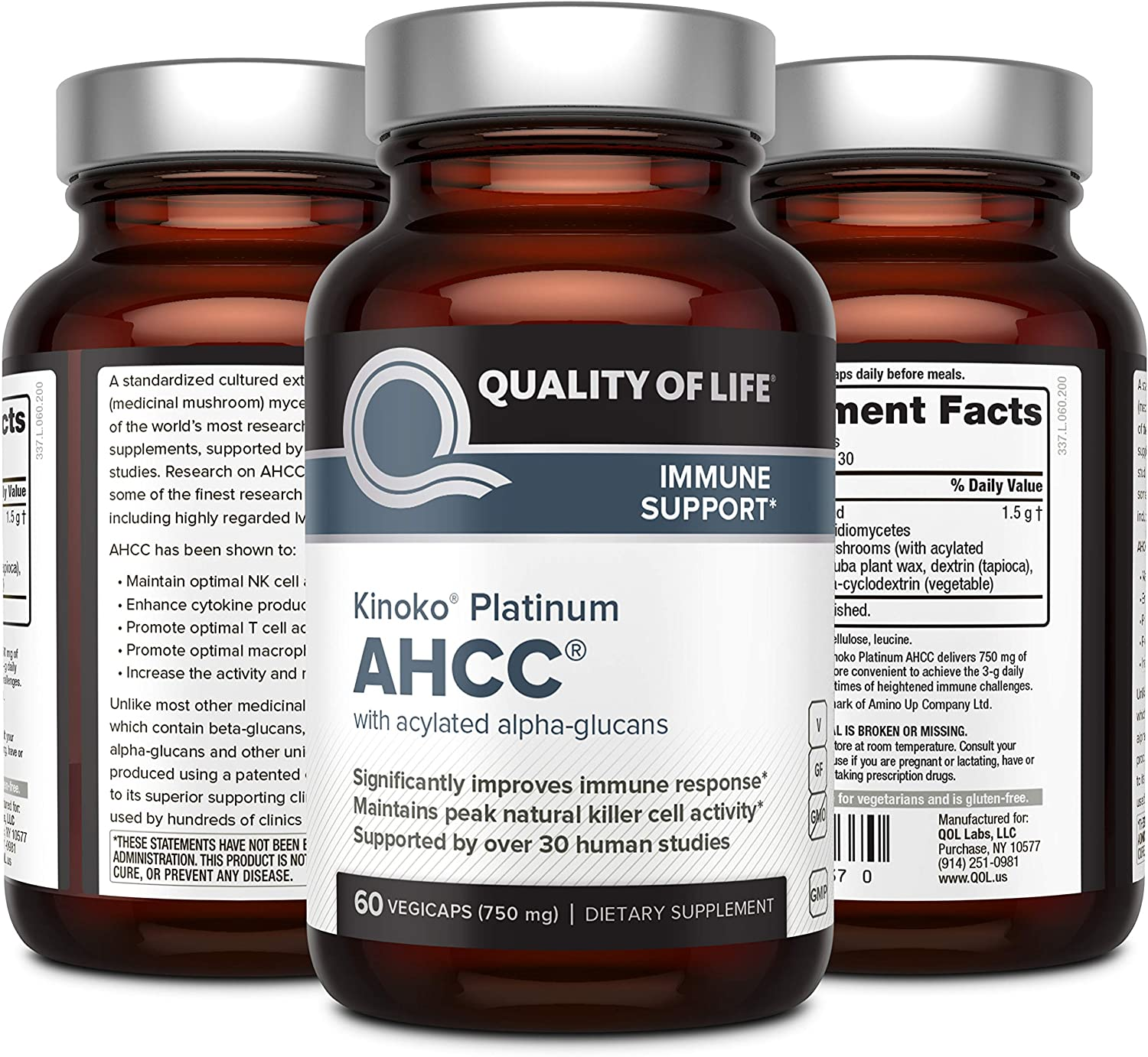 Premium Kinoko Platinum AHCC Supplement 750mg - 60 Tablet