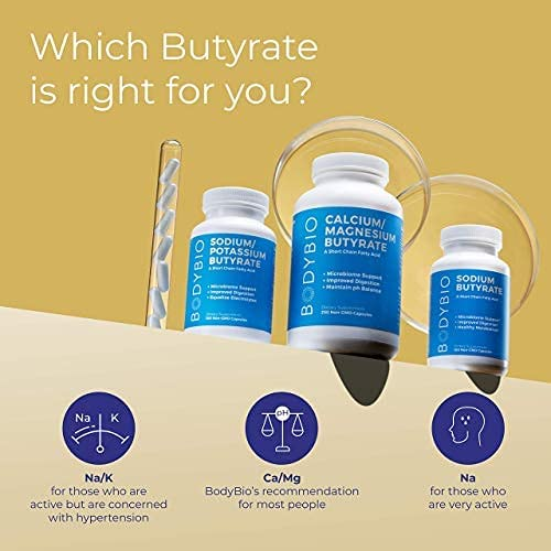 BodyBio Butyrate with Calcium and Magnesium - 100 Tablet