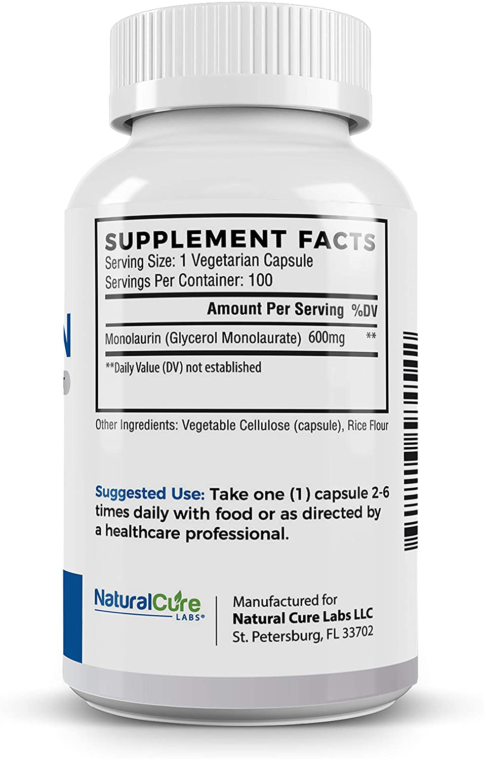 Natural Cure Labs Premium Monolaurin 600mg - 100 Tablet