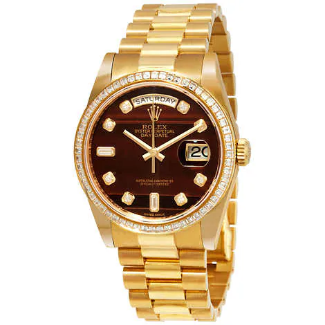 Rolex President Day-Date 18kt Yellow Gold Men's Chocolate Dial Automatic Watch