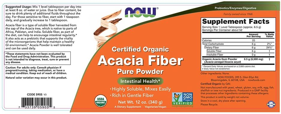 Now Acacia Fiber Powder - 12 oz